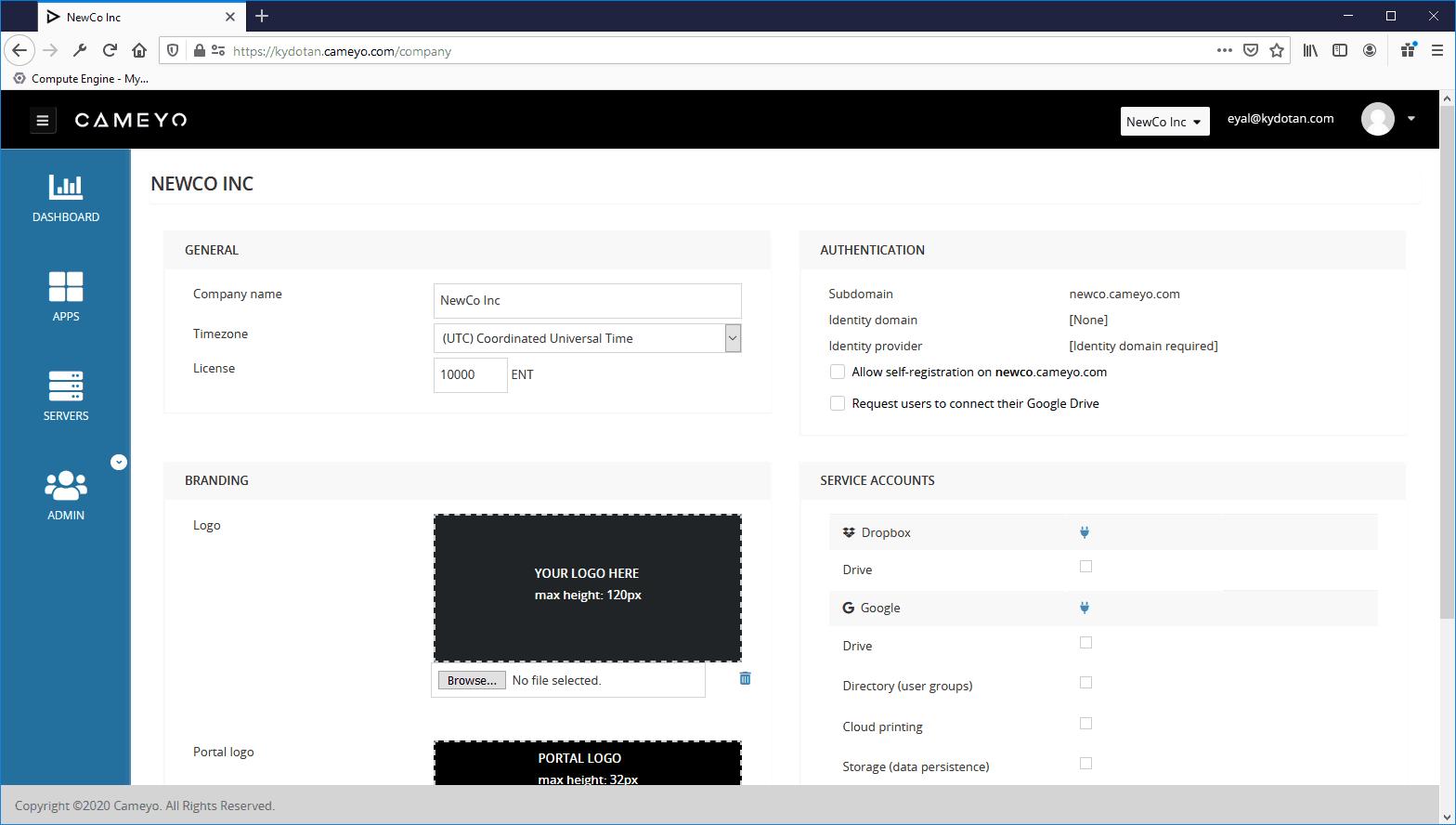 Cameyo for MSPs client dashboard screenshot