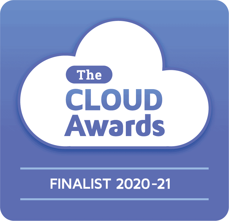 "Logo showing that Cameyo is a finalist for the 2020-2021 Cloud Awards in the ""Best SaaS Solution"" category"