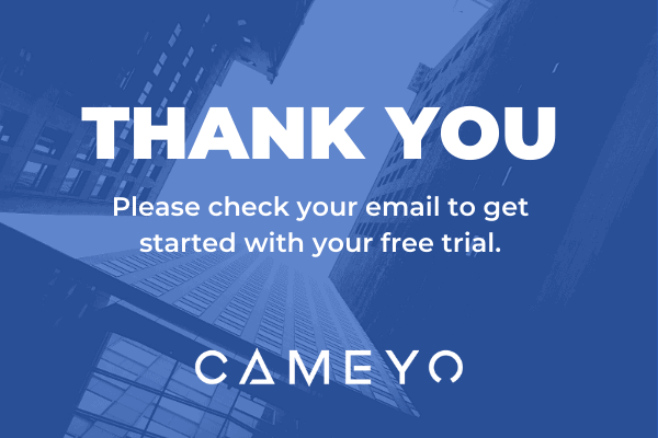 Image that confirms your form has been submitted after requesting a free trial of Cameyo