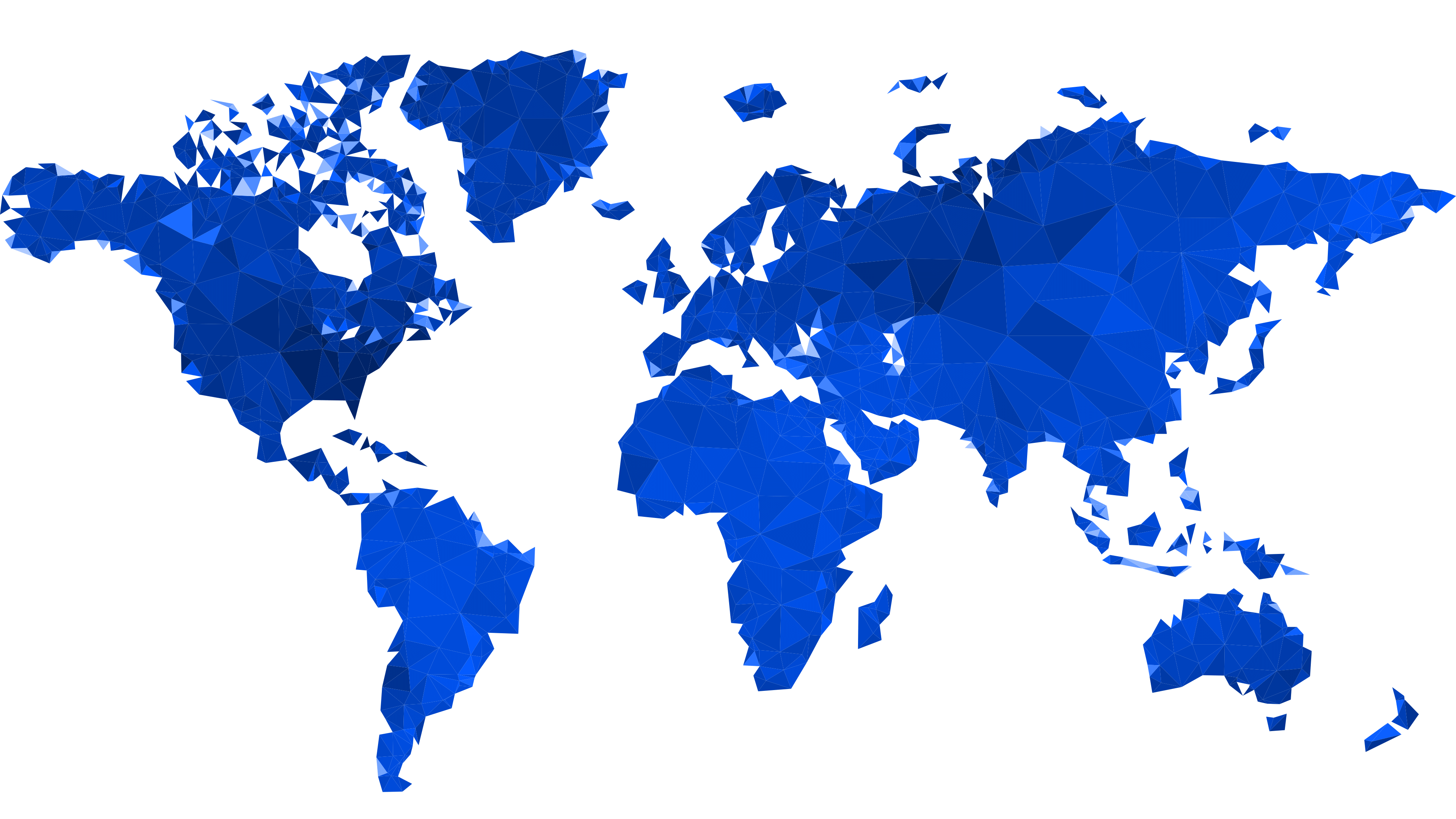 A blue geometric continental map illustrating the global presence of Cameyo